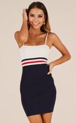 Ignition dress in navy stripe
