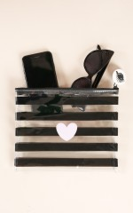 Love Me Better pouch in black stripe