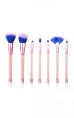 Crystal Glitter Makeup Brush Set in light amethyst - 7 PC