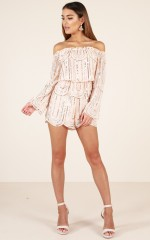 Somewhere Only We Know playsuit in nude sequin