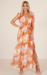 Out Loud maxi dress in mustard floral