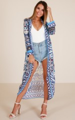 Brightest Dawn kimono in navy print