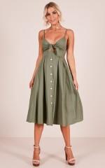 Life Goes On dress in khaki linen look