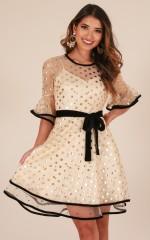 My Wish dress in gold polka dot