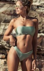 Low Down Bikini Bottom in sage metallic