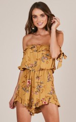Page By Page playsuit in mustard floral
