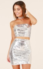 Always Sparkling two piece set in silver sequin