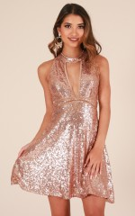 Wish List dress in gold sequin
