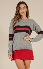 Sincerely Yours knit sweater in grey stripe