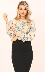 Honey Please top in beige floral