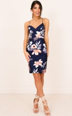 Fall Harder dress in navy floral