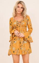 Spring Rain dress in mustard floral