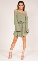 Fallen Short knit dress in khaki