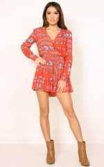 Rocky Mountain playsuit in red print