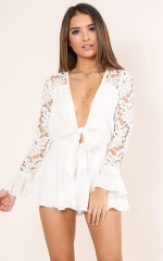Speaking To You playsuit in white crochet