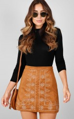 Wild Flower skirt in tan suedette