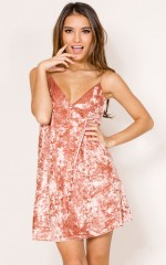 October dress in pink velvet