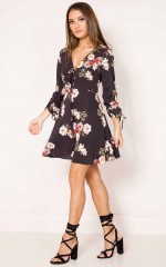 Messing With You dress in black floral