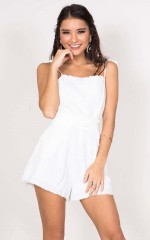 Falling Away Playsuit in white