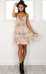 What She Said Dress in mocha floral