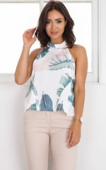 On The Moon Top in white print