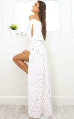 Scarlett maxi skirt in mocha stripe