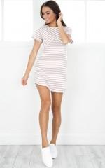 Over The Moon shift dress in mocha stripe