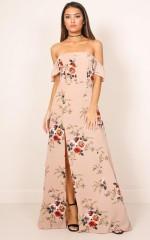 A Floral Affair Maxi Dress in mocha floral