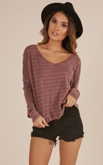 A Perfect Day top in wine stripe