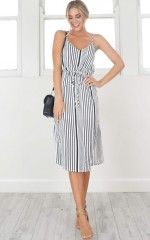Advanced Dress in white stripe