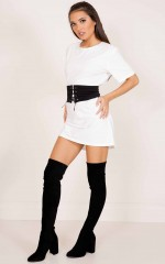 Aint Yo Girl belted tee dress in white
