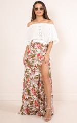 All Time maxi skirt in white tropical floral
