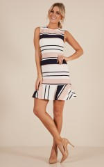 Any Questions dress in pink and navy stripe