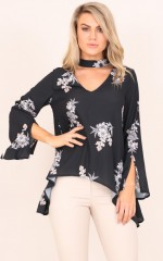 August top in black floral