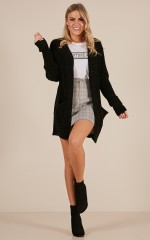 Back On Track velvet knit cardigan in black