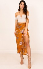 Back To Life skirt in tan floral