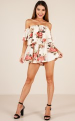 Be My Guest playsuit in ivory floral