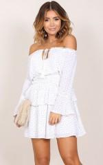 Beautiful Dreams dress in white print