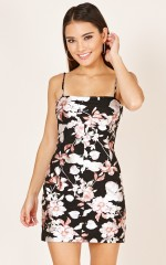 Birds Of A Feather dress in black floral