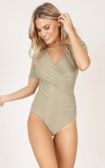 Impress Me bodysuit in khaki