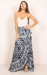 Bohemian Vibes Skirt in Black Print