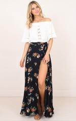 Break A Leg Maxi Skirt in ink floral