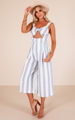 Bunny Cuddles jumpsuit in blue stripe