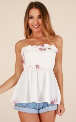 By Now top in white floral