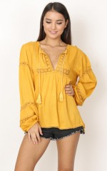 Careless Whisper top in mustard