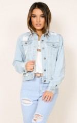 Checking Out denim jacket in light wash