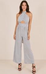 City Dreams jumpsuit in navy stripe