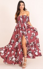 Classy Sassy maxi dress in dark rose floral