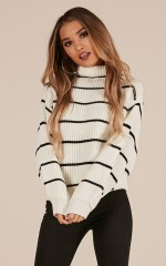 Close To You knit sweater in white stripe