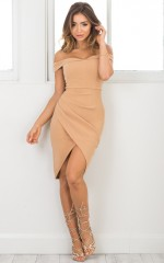 Take A Picture dress in camel